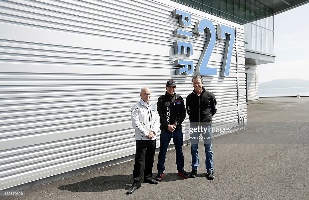 Stephen Barclay, CEO of the America's Cup Event Authority, Russell Coutts, CEO of Oracle Racing, and Paul Cayard, CEO of Artemis Racing, pose outside the newly redeveloped Pier 27 during the America's Cup Summer of Racing Launch event on April 3, 2013 in San Francisco, California. The America's Cup Finals will be held in San Francisco Bay between September 7-22.