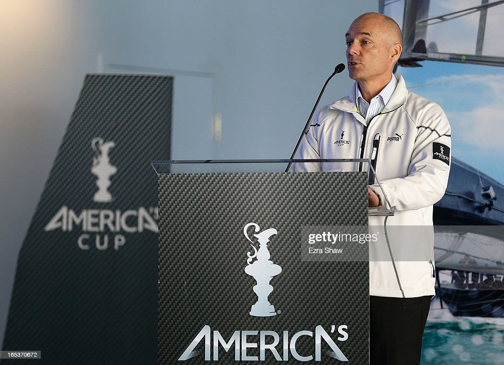 Stephen Barclay, CEO of the America's Cup Event Authority, speaks to the media during the America's Cup Summer of Racing Launch event on April 3, 2013 in San Francisco, California. The America's Cup Finals will be held in San Francisco Bay between September 7-22.
