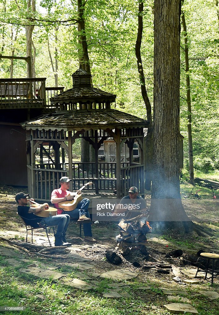 Stephen Barker Liles Eric Gunderson and Trent Tomlinson attend Country Rock Group Love And Theft 'Cabin Fever Writing Sessions' on April 21 2015 in...