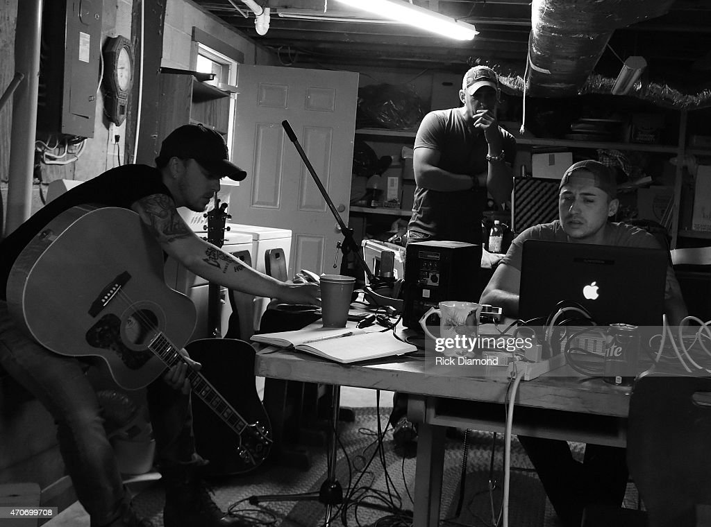 Stephen Barker Liles Trent Tomlinson and Eric Gunderson attend Country Rock Group Love And Theft 'Cabin Fever Writing Sessions' on April 21 2015 in...