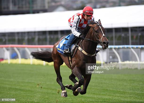 Stephen Baster riding Awesome Rock during Breakfast with the best at Moonee Valley Racecourse on October 18 2016 in Melbourne Australia