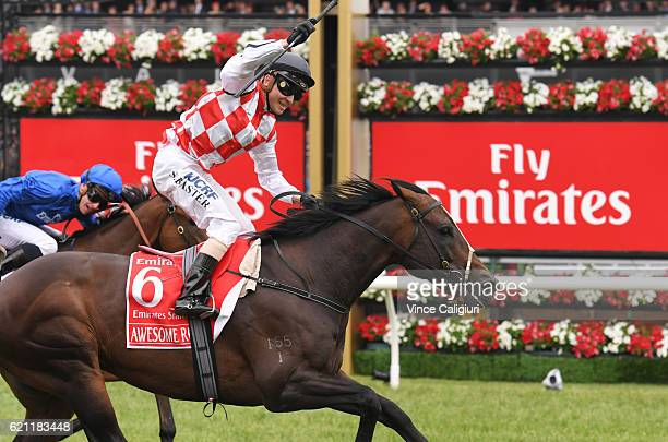 Stephen Baster riding Awesome Rock wins Race 7 Emirates Stakes on Stakes Day at Flemington Racecourse on November 5 2016 in Melbourne Australia