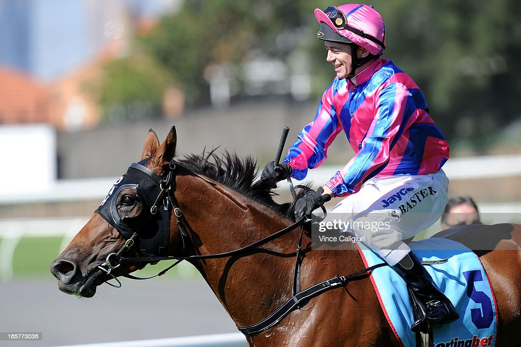 Stephen Baster riding Friday Hussy after winning Medownick Laser Eye Surgery Handicap during Melbourne racing at Moonee Valley Racecourse on April 6, 2013 in Melbourne, Australia.