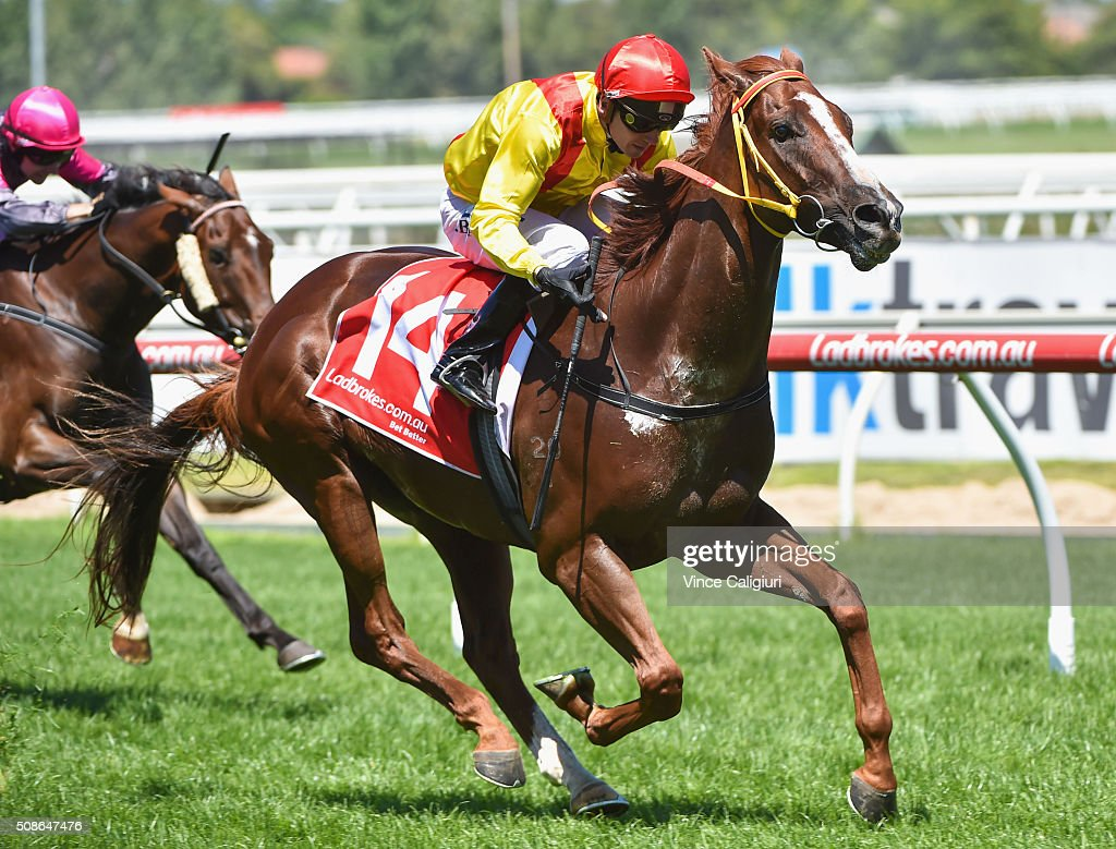 Stephen Baster riding Grande Rosso wins Race 3 during Melbourne Racing at Caulfield Racecourse on February 6, 2016 in Melbourne, Australia.