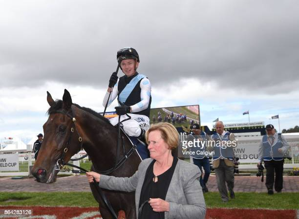 Stephen Baster riding Pinot after winning Race 3 New Zealand Bloodstock Ethereal Stakes during Melbourne Racing on Caulfield Cup Day at Caulfield...