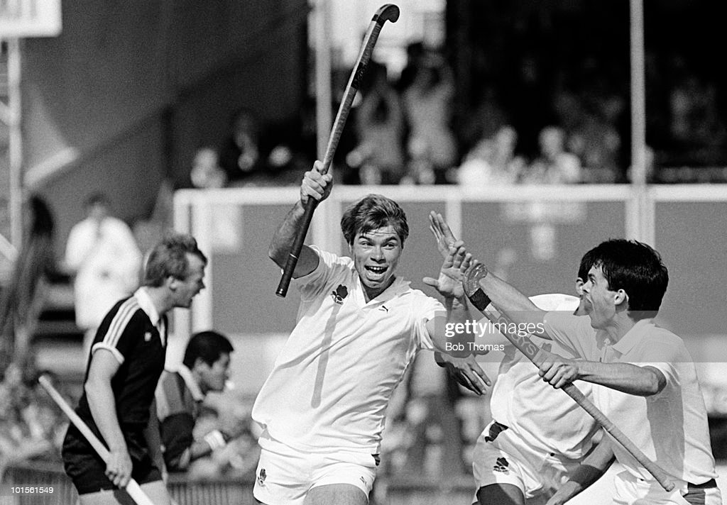 Stephen Batchelor of England celebrates after scoring the third goal against New Zealand in the 6th FIH World Hockey Cup for Men held at Willesden, England on 4th October 1986. England beat New Zealand 3-1. (Bob Thomas/Getty Images).