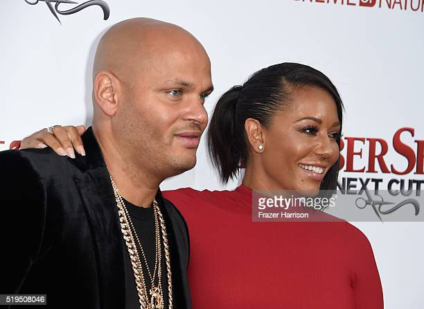 Stephen Belafonte and actress/musician Melanie Brown attend the Premiere Of New Line Cinema's 'Barbershop The Next Cut' at TCL Chinese Theatre on...
