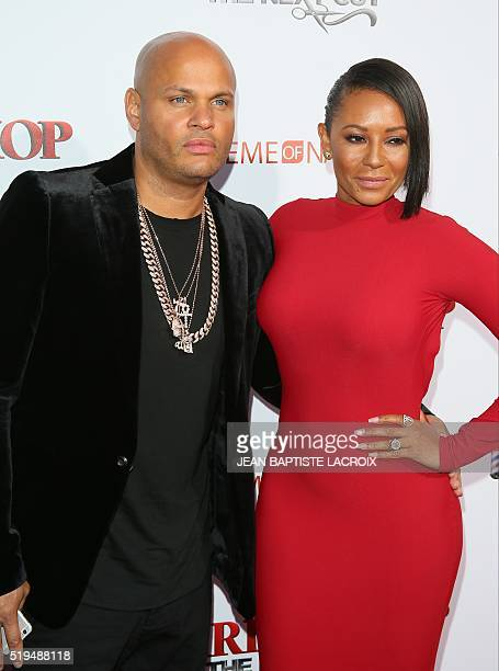 Stephen Belafonte and Mel B attend the premiere of Warner Brothers 'Barbershop The Next Cut' in Hollywood California on April 6 2016 LACROIX