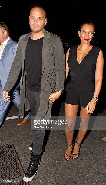 Stephen Belafonte and Melanie Brown are seen arriving at Annabel's club Mayfair on October 28 2014 in London England