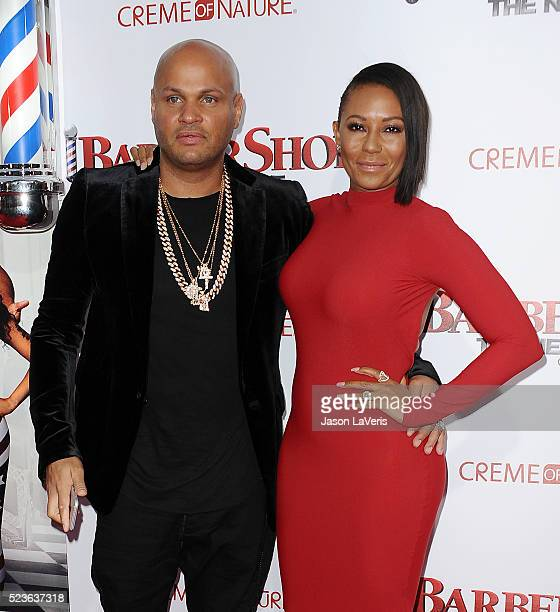 Stephen Belafonte and Melanie 'Mel B' Brown attend the premiere of 'Barbershop The Next Cut' at TCL Chinese Theatre on April 6 2016 in Hollywood...
