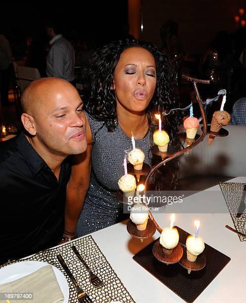 Stephen Belafonte and singer Mel B celebrate her birthday at Andrea's at Encore Las Vegas on June 1 2013 in Las Vegas Nevada