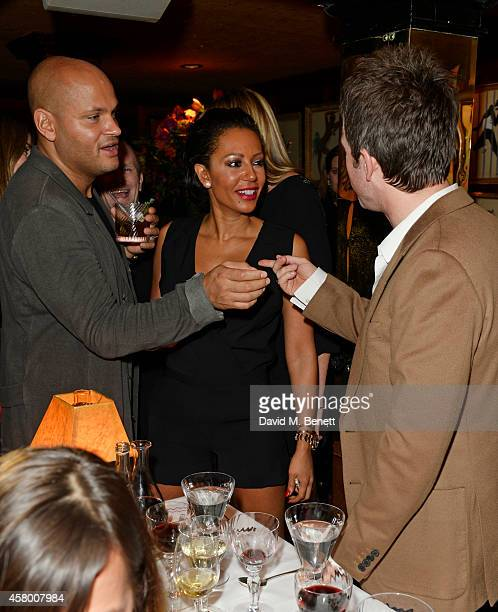 Stephen Belafonte Mel B and Noel Gallagher attend the launch of Annabel's DocuFilm 'A String of Naked Lightbulbs' at Annabel's on October 28 2014 in...