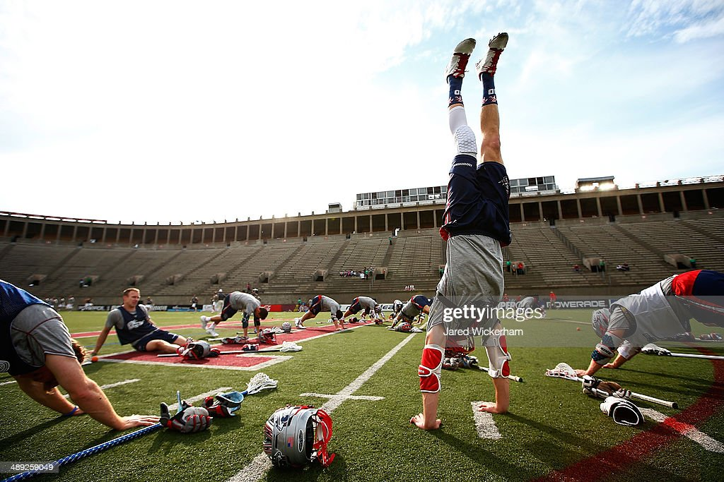 Stephen Berger #10 of the Boston Cannons warms up prior to the game against the Denver Outlaws at Harvard Stadium on May 10, 2014 in Boston, Massachusetts.