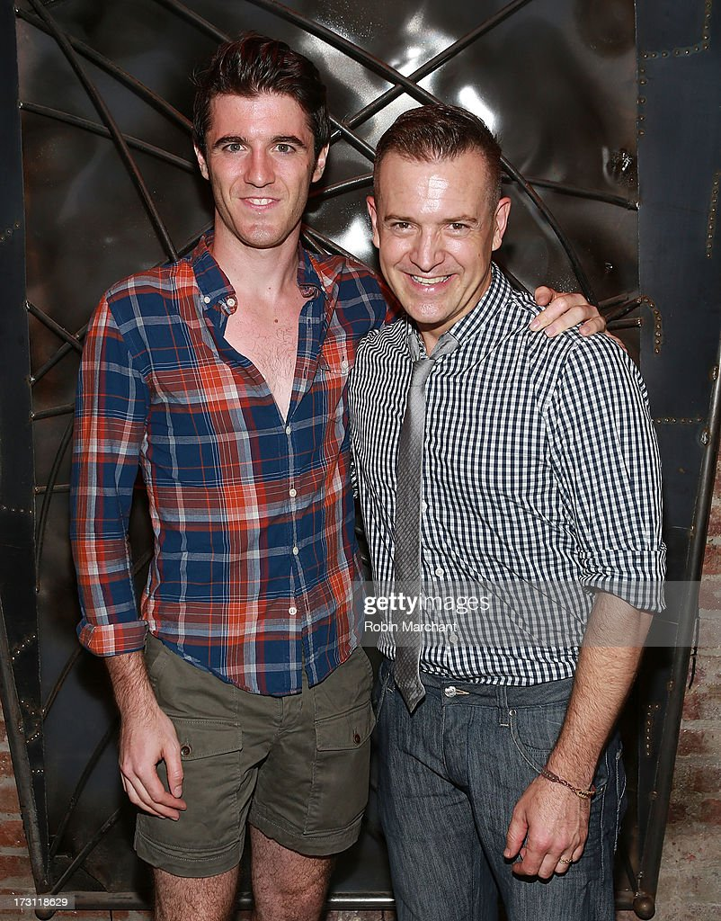Stephen Bienskie (L) and David Ayers attend the closing night party for 'Silence! The Musical' at Elektra Theatre on July 7, 2013 in New York City.