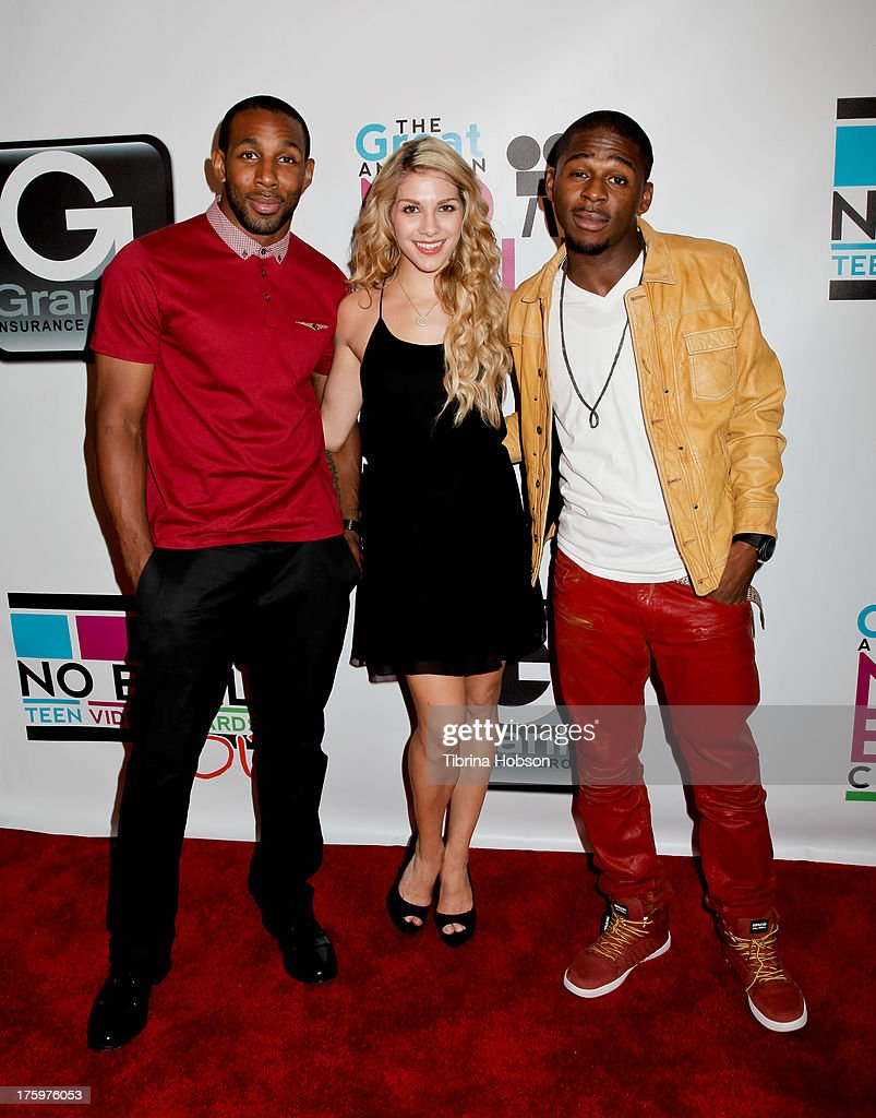 Stephen Boss, <a gi-track='captionPersonalityLinkClicked' href=/galleries/search?phrase=Allison+Holker&family=editorial&specificpeople=736475 ng-click='$event.stopPropagation()'>Allison Holker</a> and Marcus Canty attend the 'No Bull Teen Video Awards' at the Westin LAX Hotel on August 10, 2013 in Los Angeles, California.