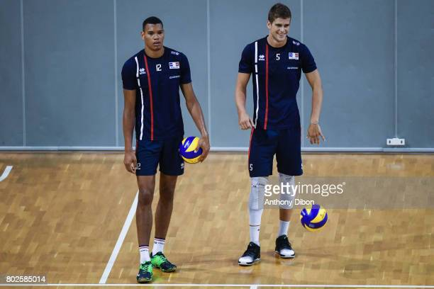 Stephen Boyer and Trevor Clevenot of France during a training session of the French volleyball national team on June 28 2017 in Vincennes France