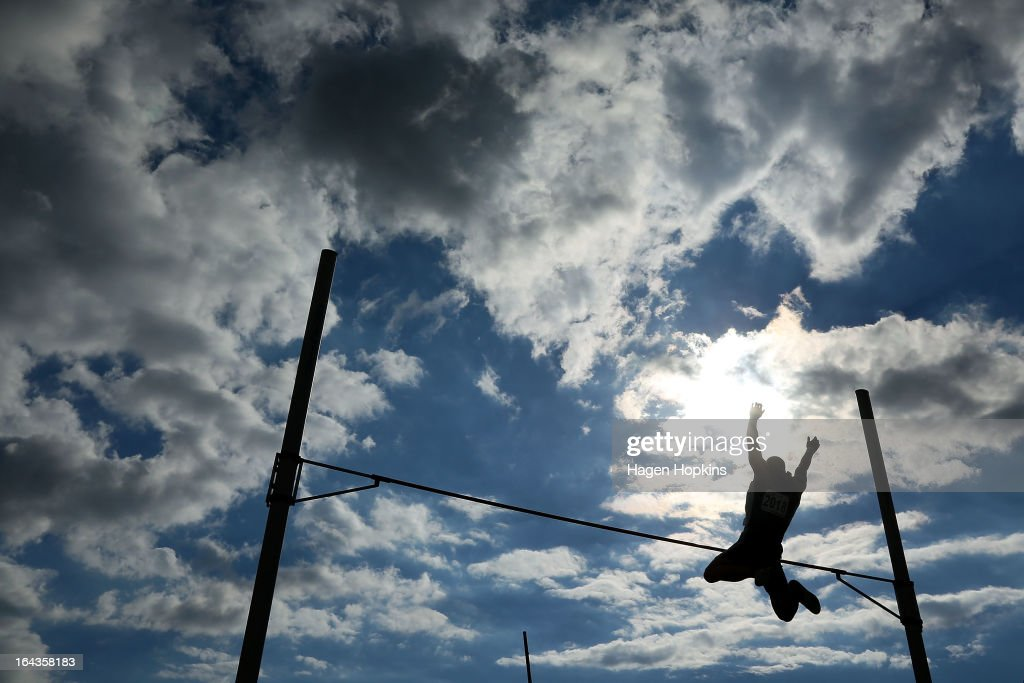 Stephen Buckley of Auckland competes in the men's senior pole vault during the New Zealand Track and Field Championships at Mt Smart Stadium on March 23, 2013 in Auckland, New Zealand.