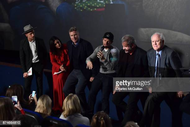 Stephen Byrne Lucy Kennedy Will Ferrell Mark Wahlberg Mel Gibson and John Withrow attends the Irish premiere of 'Daddy's Home 2' Odeon Cinema on...