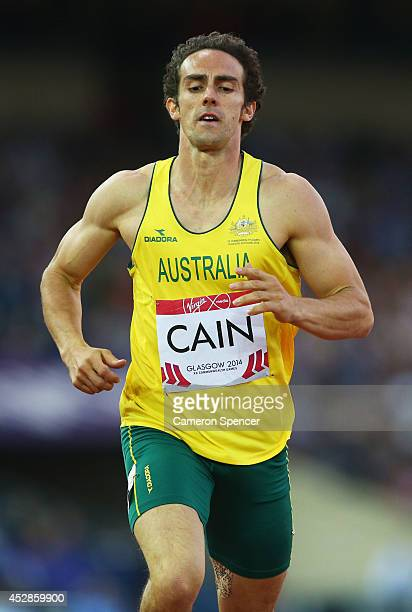 Stephen Cain of Australia competes in the Men's Decathlon 400 metres at Hampden Park during day five of the Glasgow 2014 Commonwealth Games on July...