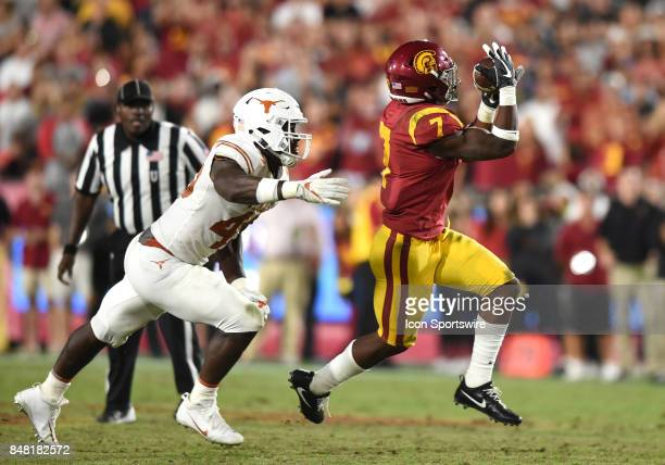 Stephen Carr catches a pass against Texas Anthony Wheeler late in the fourth quarter that set up USC's opportunity to tie the game during a college...