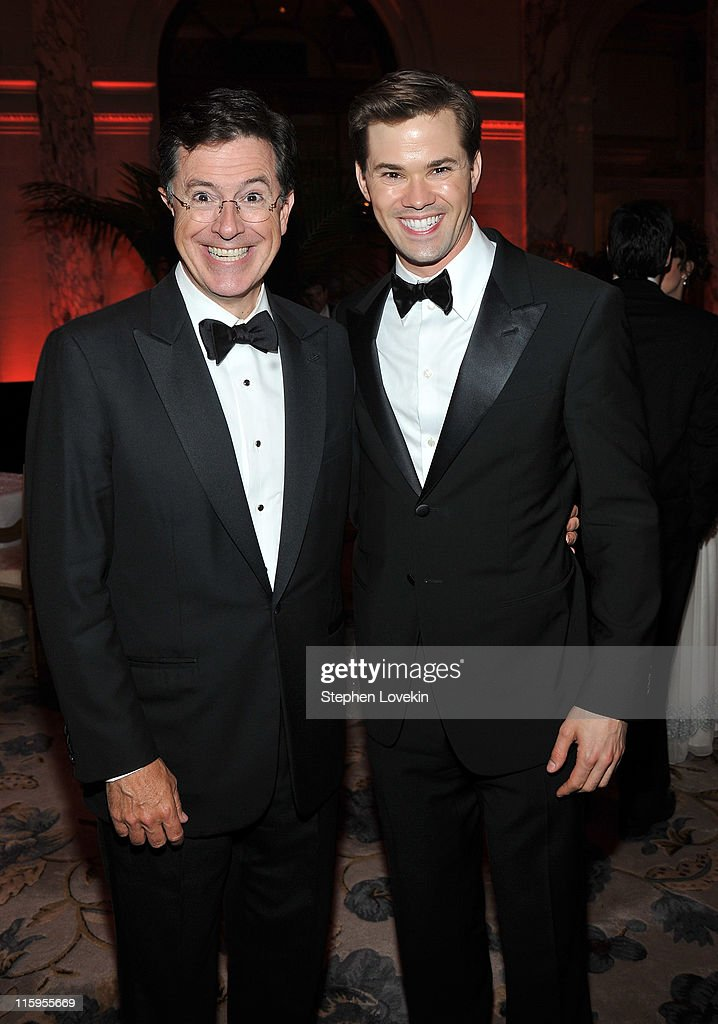 <a gi-track='captionPersonalityLinkClicked' href=/galleries/search?phrase=Stephen+Colbert&family=editorial&specificpeople=215133 ng-click='$event.stopPropagation()'>Stephen Colbert</a> (L) and <a gi-track='captionPersonalityLinkClicked' href=/galleries/search?phrase=Andrew+Rannells&family=editorial&specificpeople=2471329 ng-click='$event.stopPropagation()'>Andrew Rannells</a> attend the party following the 65th Annual Tony Awards on June 12, 2011 in New York City.