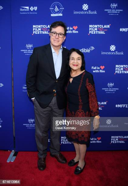 Stephen Colbert and Dolores Huerta arrive at Montclair Film Festival 2017 Opening Night on April 28 2017 in Montclair New Jersey