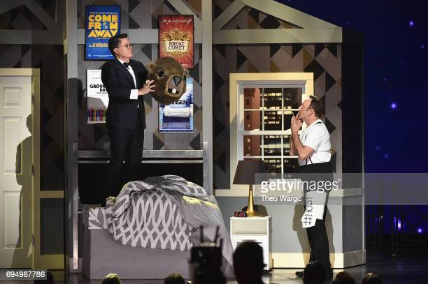 Stephen Colbert and Host Kevin Spacey perform onstage during the 2017 Tony Awards at Radio City Music Hall on June 11 2017 in New York City
