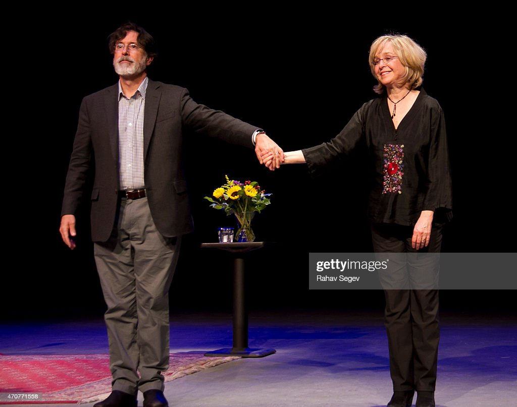 Stephen Colbert and <a gi-track='captionPersonalityLinkClicked' href=/galleries/search?phrase=Jill+Eikenberry&family=editorial&specificpeople=642274 ng-click='$event.stopPropagation()'>Jill Eikenberry</a> attend Symphony Space on April 22, 2015 in New York City.