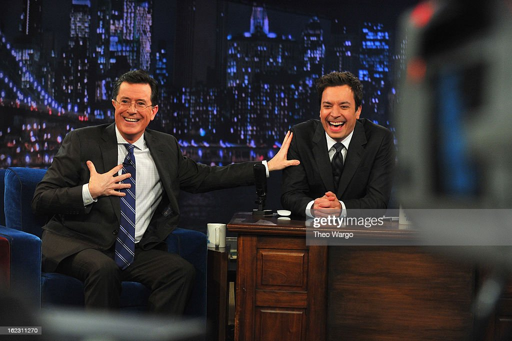 <a gi-track='captionPersonalityLinkClicked' href=/galleries/search?phrase=Stephen+Colbert&family=editorial&specificpeople=215133 ng-click='$event.stopPropagation()'>Stephen Colbert</a> and Jimmy Fallon during a taping 'Late Night With Jimmy Fallon' at Rockefeller Center on February 21, 2013 in New York City.