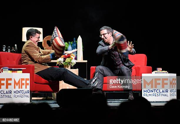 Stephen Colbert and John Oliver onstage at the PostElection Evening to Benefit Montclair Film Festival at NJ Performing Arts Center on November 19...