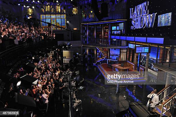 Stephen Colbert and Jon Batiste during the premiere episode of The Late Show with Stephen Colbert Tuesday Sept 8 2015 on the CBS Television Network