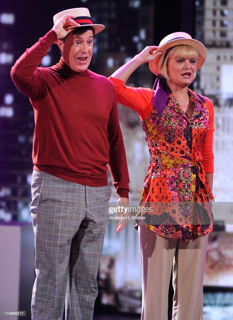 Stephen Colbert and Martha Plimpton perform a song from 'Company' on stage during the 65th Annual Tony Awards at the Beacon Theatre on June 12, 2011 in New York City.