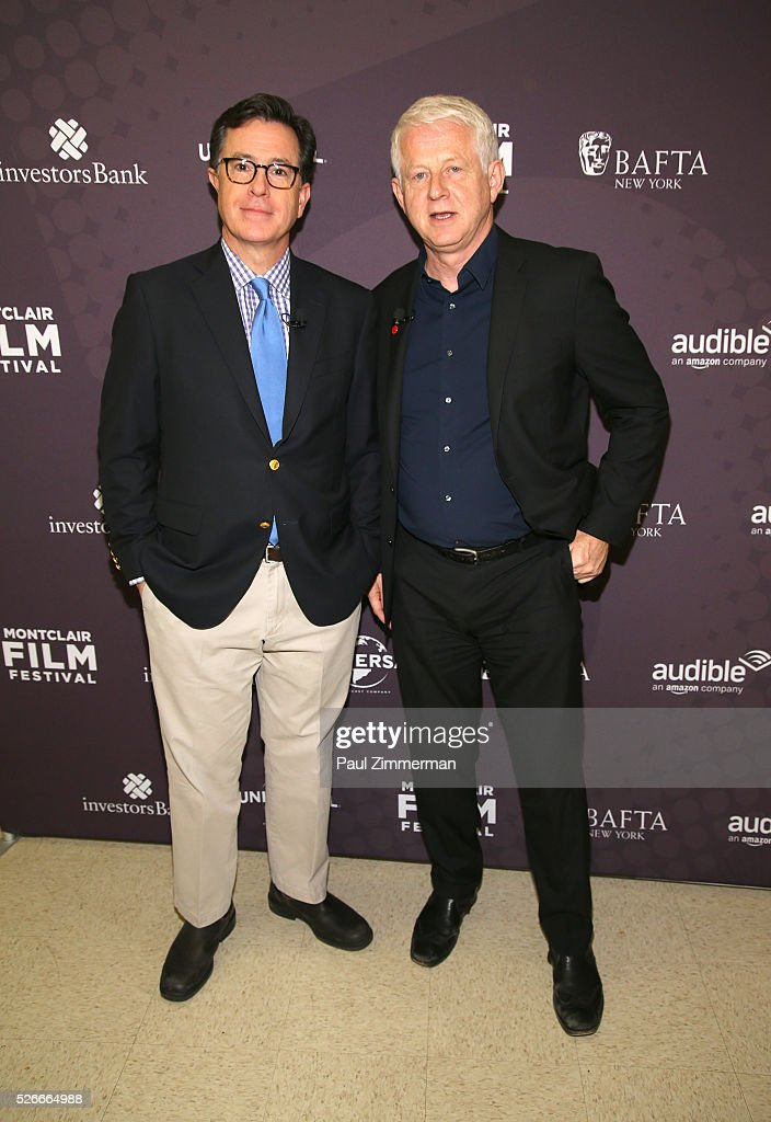 Stephen Colbert (L) and Richard Curtis attend the Montclair Film Festival 2016 Richard Curtis Conversation And Filmmaker Tribute at Montclair Kimberly Academy on April 30, 2016 in Montclair, New Jersey.