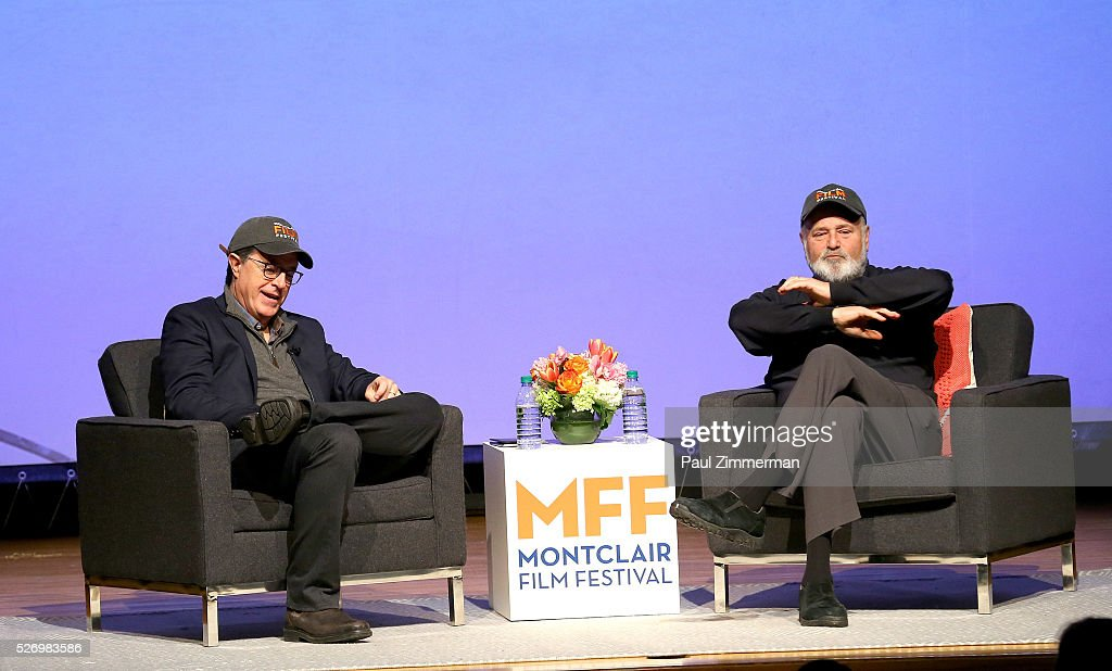 Stephen Colbert (L) and Rob Reiner speak onstage at the Montclair Film Festival 2016 - Day 3 Conversations at Montclair Kimberly Academy on May 1, 2016 in Montclair, New Jersey.