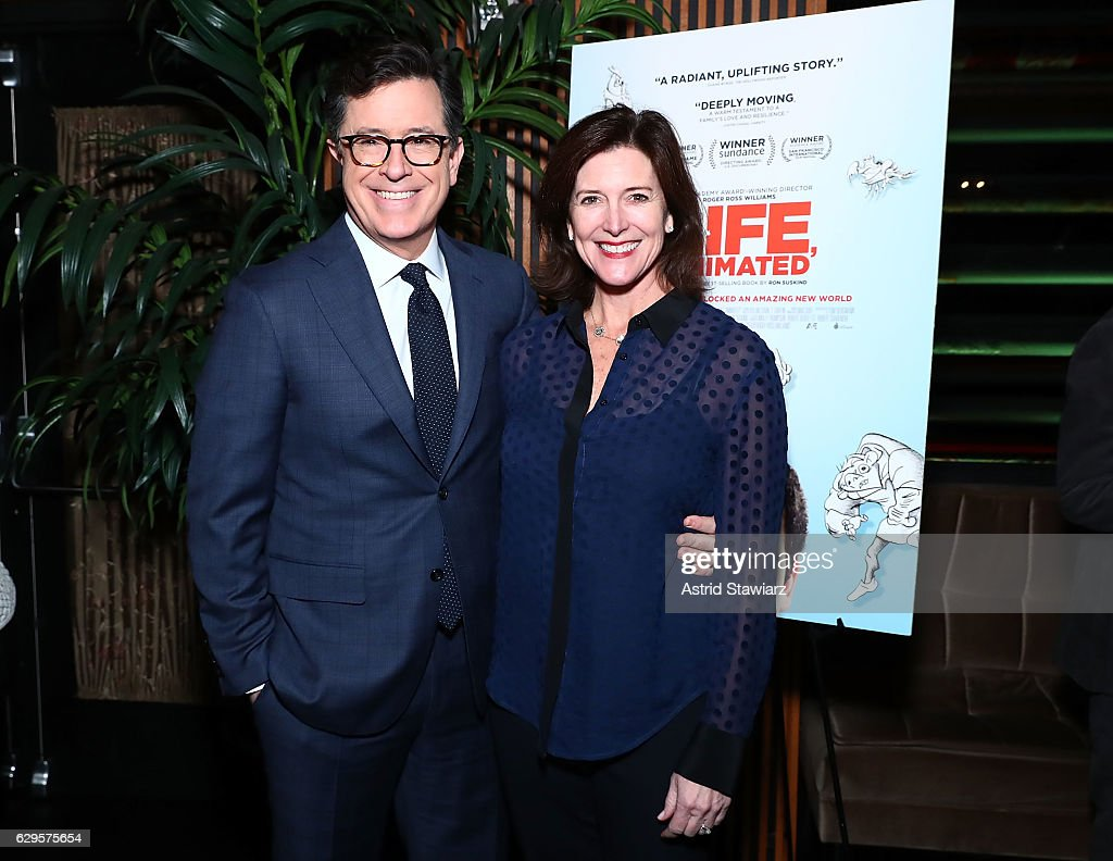 Stephen Colbert and wife Evelyn McGee-Colbert attend a cocktail party in celebration of 'Life, Animated' at Megu New York on December 13, 2016 in New York City.