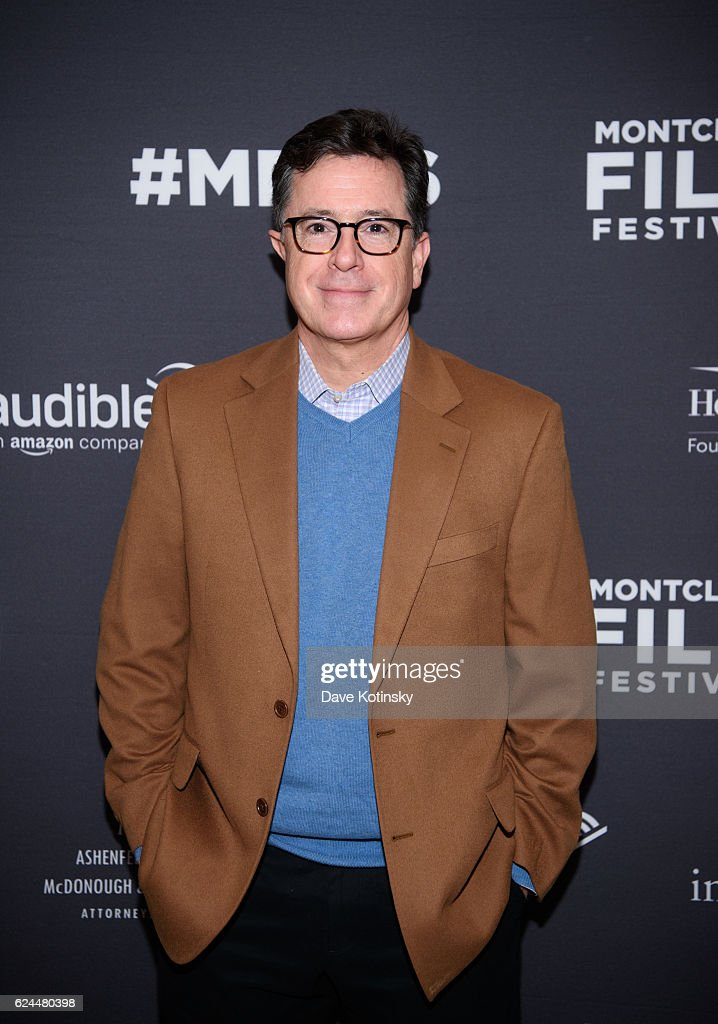 Stephen Colbert arrives at the Post-Election Evening to Benefit Montclair Film Festival at NJ Performing Arts Center on November 19, 2016 in Newark, New Jersey.