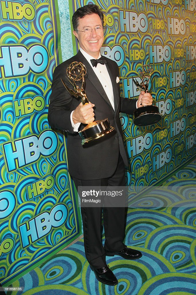 <a gi-track='captionPersonalityLinkClicked' href=/galleries/search?phrase=Stephen+Colbert&family=editorial&specificpeople=215133 ng-click='$event.stopPropagation()'>Stephen Colbert</a> attends HBO's official Emmy after party at The Plaza at the Pacific Design Center on September 22, 2013 in Los Angeles, California.