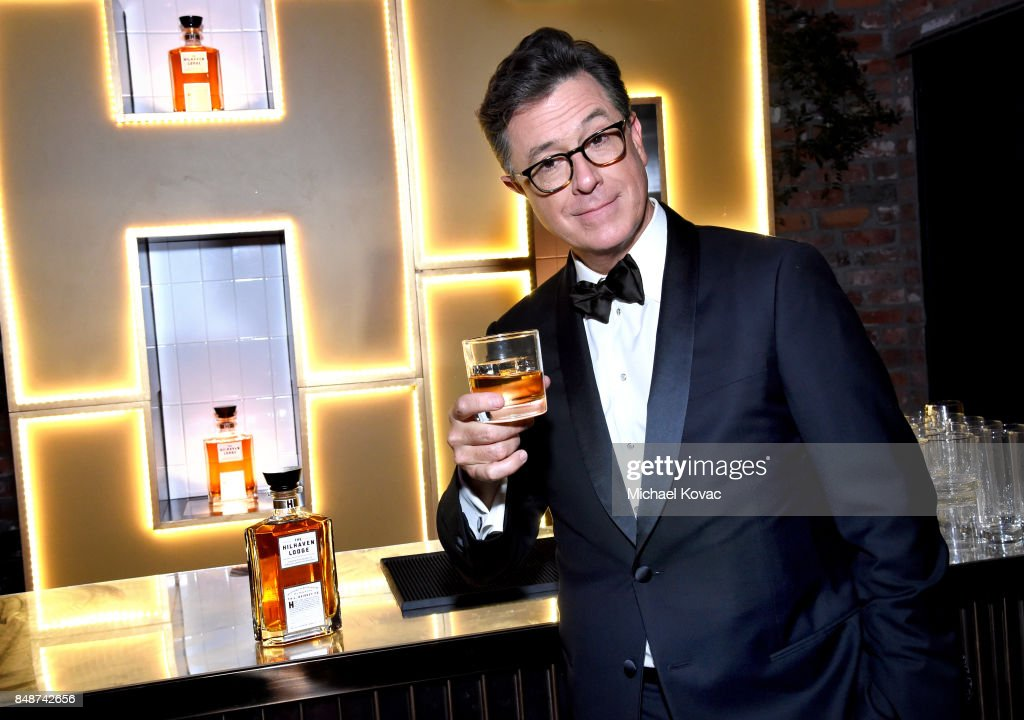 Stephen Colbert celebrates with The Hilhaven Lodge whiskey at his Emmys after party following a successful night of hosting on September 17, 2017 in Los Angeles, California.