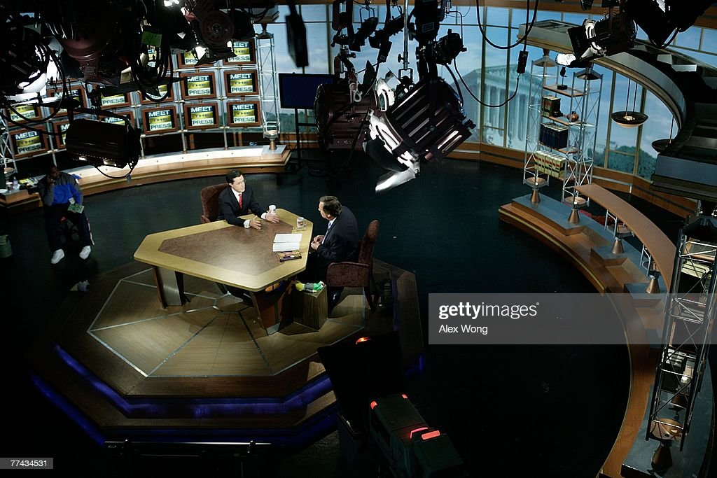 Stephen Colbert host of 'The Colbert Report' speaks as he is interviewed by moderator Tim Russert during a taping of 'Meet the Press' at the NBC...