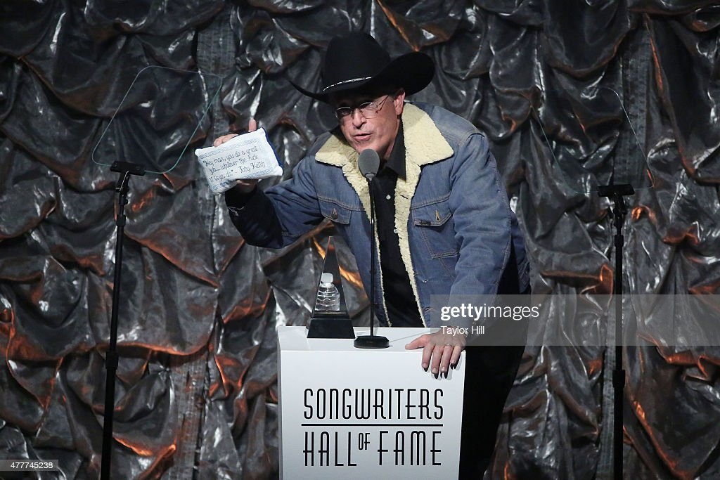 Stephen Colbert inducts Toby Keith into the Songwriters Hall Of Fame 46th Annual Induction And Awards at Marriott Marquis Hotel on June 18 2015 in...