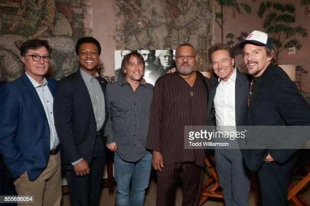 Stephen Colbert J Quinton Johnson Richard Linklater Laurence Fishburne Bryan Cranston and Ethan Hawke attend the Last Flag Flying Reception hosted...