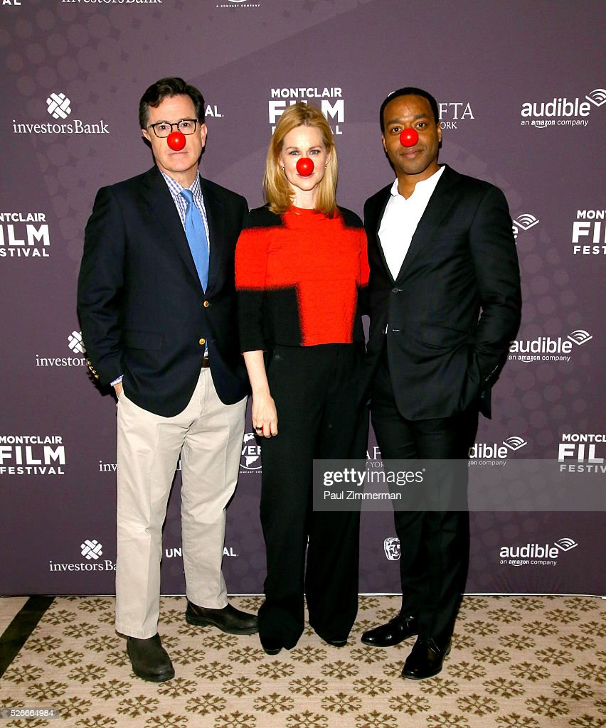 Stephen Colbert, Laura Linney and Chiwetel Ejiofor attend the Montclair Film Festival 2016 Richard Curtis Conversation And Filmmaker Tribute at Montclair Country Club on April 30, 2016 in Montclair, New Jersey.
