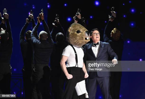 Stephen Colbert performs onstage during the 2017 Tony Awards at Radio City Music Hall on June 11 2017 in New York City