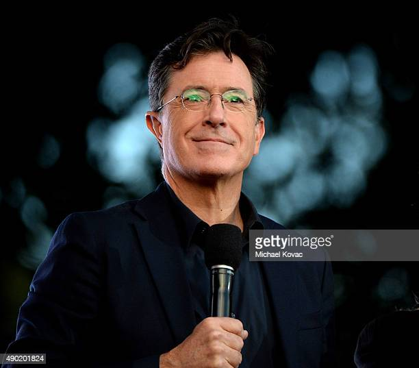Stephen Colbert presents onstage at the 2015 Global Citizen Festival to end extreme poverty by 2030 in Central Park on September 26 2015 in New York...