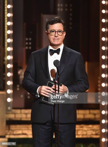 Stephen Colbert speaks onstage during the 2017 Tony Awards at Radio City Music Hall on June 11 2017 in New York City