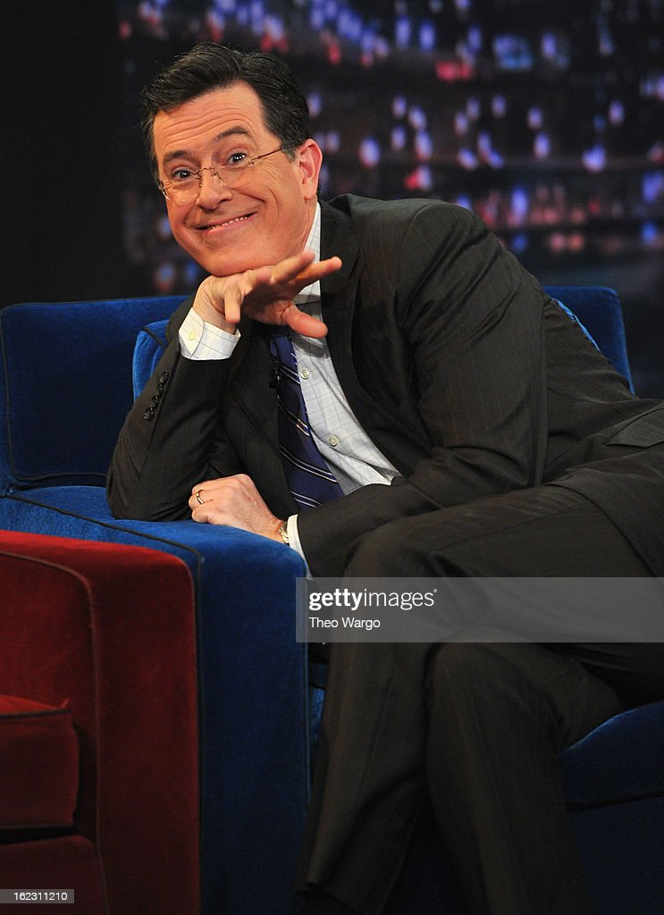 <a gi-track='captionPersonalityLinkClicked' href=/galleries/search?phrase=Stephen+Colbert&family=editorial&specificpeople=215133 ng-click='$event.stopPropagation()'>Stephen Colbert</a> visits 'Late Night With Jimmy Fallon' at Rockefeller Center on February 21, 2013 in New York City.