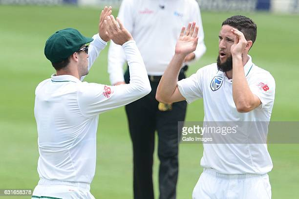 Stephen Cook and Wayne Parnell of the Proteas celebraes the wicket of Kusal Mendis of Sri Lanka during day 3 of the 3rd test between South Africa and...