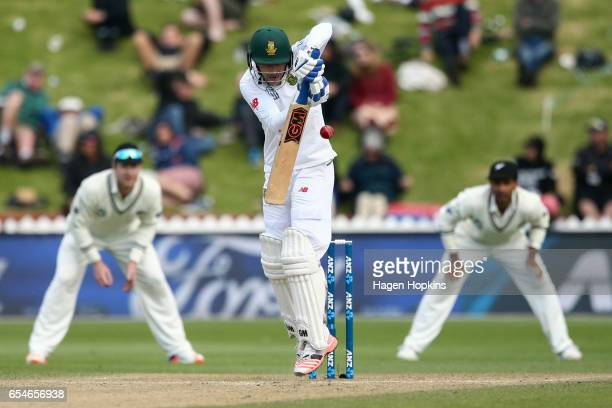 Stephen Cook of South Africa bats during day three of the test match between New Zealand and South Africa at Basin Reserve on March 18 2017 in...