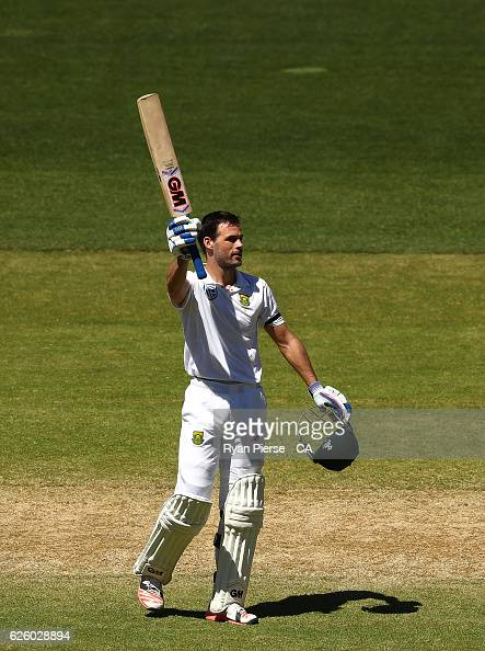 Stephen Cook of South Africa celebrates after reaching his century during day four of the Third Test match between Australia and South Africa at...