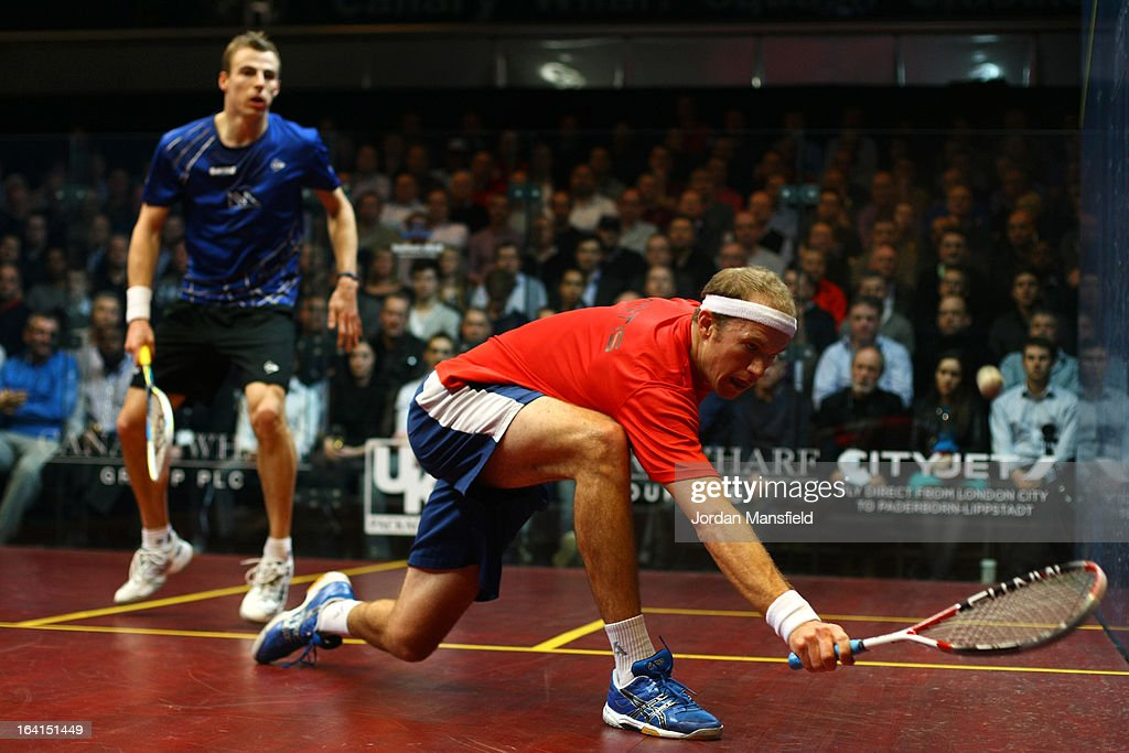 Stephen Coppinger of South-Africa in action against Nick Matthew of England during their quarter-final match in the Canary Wharf Squash Classic on March 20, 2013 in London, England.